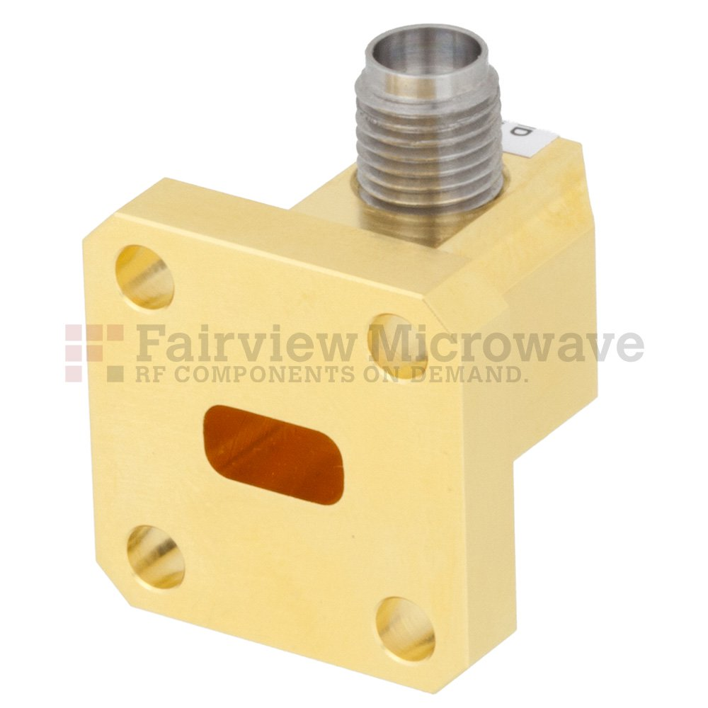WR-28 to 2.92mm Female Waveguide to Coax Adapter UG-599/U Square Cover Flange With 26.5 GHz to 40 GHz Frequency Range For Ka Band