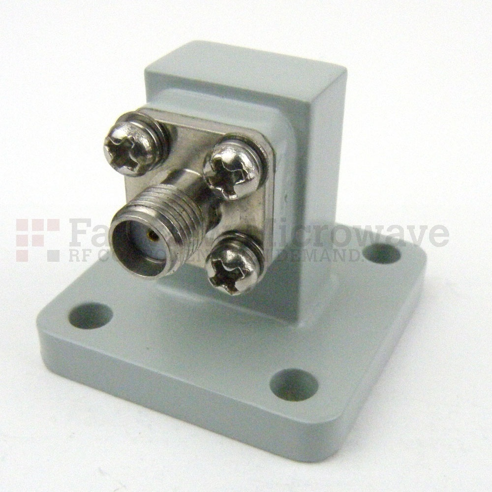 WR-51 to SMA Female Waveguide to Coax Adapter UBR180 Flange With 15 GHz to 22 GHz Frequency Range For Ku-K Band