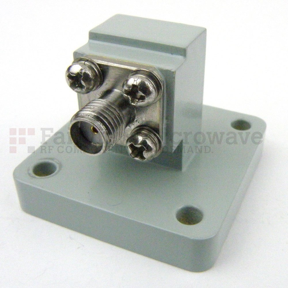 WR-51 to SMA Female Waveguide to Coax Adapter Square Cover Flange With 15 GHz to 22 GHz Frequency Range For Ku-K Band