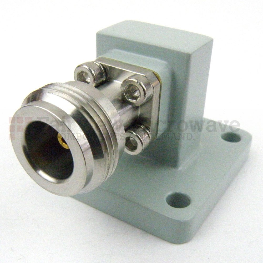 WR-62 to N Female Waveguide to Coax Adapter Square Cover Flange With 12.4 GHz to 18 GHz Frequency Range
