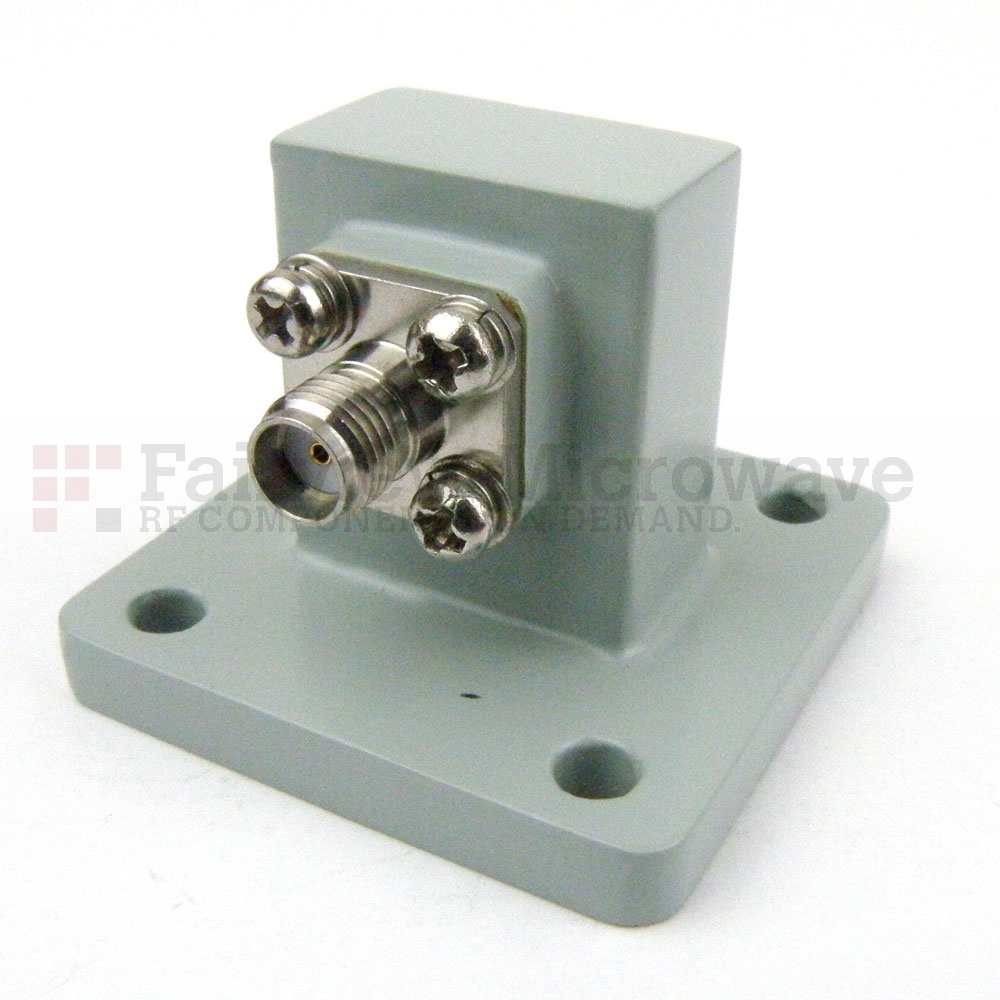 WR-75 to SMA Female Waveguide to Coax Adapter Square Cover Flange With 10 GHz to 15 GHz Frequency Range