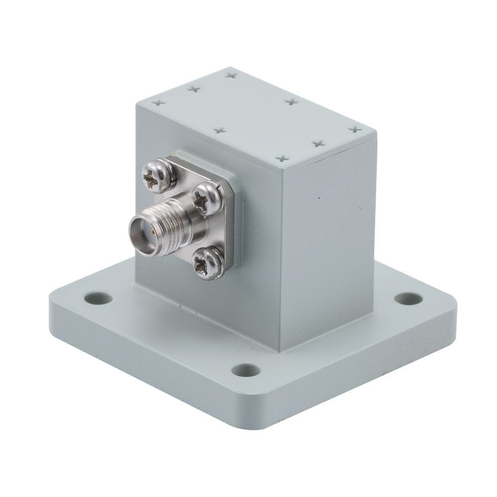 WR-75 to SMA Female Waveguide to Coax Adapter Square Cover Flange With 10 GHz to 15 GHz Frequency Range For X-Ku Band