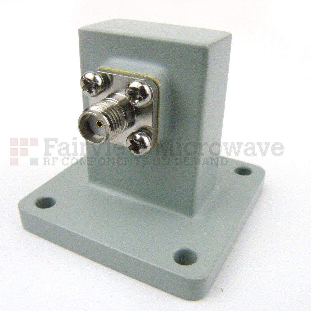 WR-90 to SMA Female Waveguide to Coax Adapter Square Cover Flange With 8.2 GHz to 12.4 GHz Frequency Range