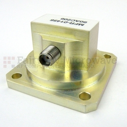 WR-90 to SMA Female Waveguide to Coax Adapter Square Cover Standard with 8.2 GHz to 12.4 GHz X Band in Aluminum high resolution