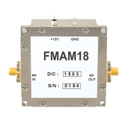 22 dB Gain Block Amplifier Operating From 50 MHz to 2 GHz with 12 dBm P1dB and SMA high resolution