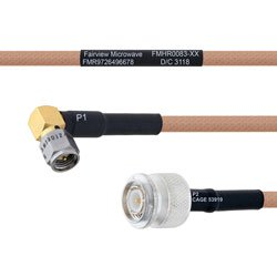 RA SMA Male to TNC Male MIL-DTL-17 Cable M17/128-RG400 Coax