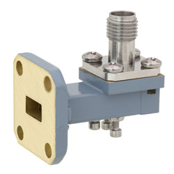 WR-28 to 2.92mm Female Waveguide to Coax Adapter UG-599/U Square Cover Standard with 26.5 GHz to 40 GHz Ka Band in Copper, Paint high resolution