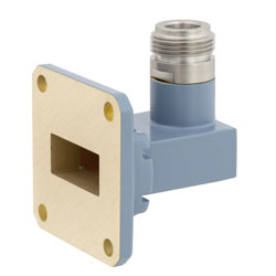 WR-90 to N Female Waveguide to Coax Adapter UG-39/U Square Cover Flange With 8.2 GHz to 12.4 GHz Frequency Range For X Band high resolution