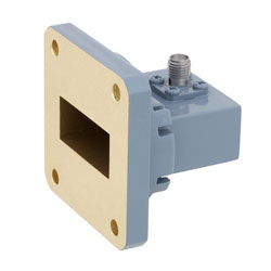 WR-112 to SMA Female Waveguide to Coax Adapter UG-51/U Square Cover Standard with 7.05 GHz to 10 GHz H Band in Copper, Paint high resolution