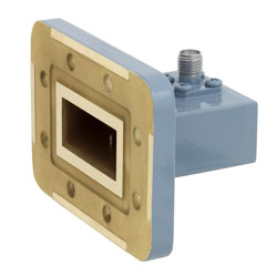 WR-112 to SMA Female Waveguide to Coax Adapter CPR-112G Grooved with 7.05 GHz to 10 GHz H Band in Copper, Paint high resolution