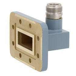 WR-112 to Type N Female Waveguide to Coax Adapter CPR-112G Grooved with 7.05 GHz to 10 GHz H Band in Copper, Paint high resolution