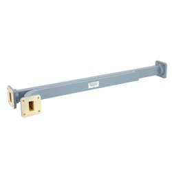 30 dB WR-75 Waveguide Broadwall Coupler with  Square Cover Flange and E-Plane Coupled Port from 10 GHz to 15 GHz in Copper Alloy high resolution