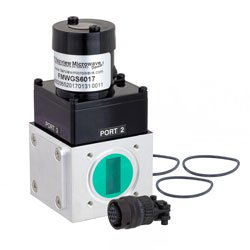 WR-90 Waveguide Electromechanical Relay Latching Switch SPDT 12.4 GHz Max Frequency, 5,000 Watts X Band UG-39/U Square Cover Flange high resolution