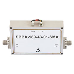 12 GHz to 18 GHz, 43 dB Gain Broadband High Gain Amplifier with 1 Watt and SMA high resolution
