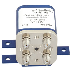 Transfer Latching DC to 18 GHz Electro-Mechanical Relay Switch, Indicators, TTL, Self Cut Off, up to 240W, 28V, SMA high resolution