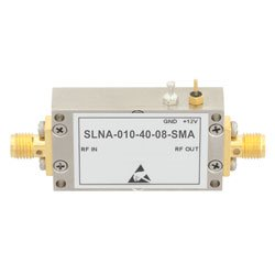 40 dB Gain 0.8 dB NF Low Noise High Gain Amplifier Operating From 10 MHz to 1,000 MHz with 18 dBm P1dB and SMA high resolution
