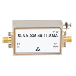 40 dB Gain 1.1 dB NF Low Noise High Gain Amplifier Operating From 3.1 GHz to 3.5 GHz with 15 dBm P1dB and SMA high resolution