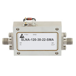 2.2 dB NF Low Noise Amplifier Operating From 8 GHz to 12 GHz with 38 dB Gain, 13 dBm Psat and SMA high resolution