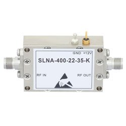 3.5 dB NF, 26.5 GHz to 40 GHz, Low Noise Broadband Amplifier with 13.5 dBm, 22 dB Gain, 22 dBm IP3 and 2.92mm high resolution