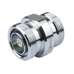 7/16 DIN Female (Jack) to 7/16 DIN Female (Jack) Adapter IP67 Mated, Tri-Metal Plated Brass Body, 1.25 VSWR high resolution