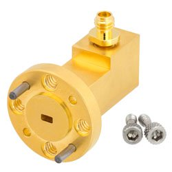 WR-10 to 1.0mm Female Waveguide to Coax Adapter UG-387/U-Mod Round Cover Standard with 75 GHz to 110 GHz W Band in Aluminum, Gold high resolution