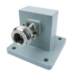 WR-112 to Type N Female Waveguide to Coax Adapter UBR84 Standard with 7.05 GHz to 10 GHz X Band in Aluminum high resolution