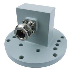 WR-137 to Type N Female Waveguide to Coax Adapter Round Cover Standard with 5.85 GHz to 8.2 GHz in Aluminum high resolution