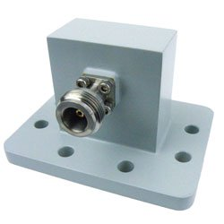 WR-159 to Type N Female Waveguide to Coax Adapter UDR58 Standard with 4.9 GHz to 7.05 GHz in Aluminum high resolution