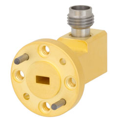 WR-15 to 1.85mm Female Waveguide to Coax Adapter UG-385/U Round Cover Standard with 50 GHz to 65 GHz V Band in Aluminum, Gold high resolution