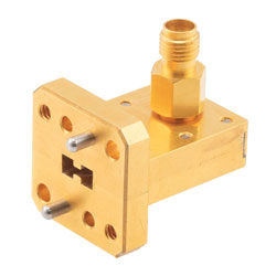 WRD180C24 to 2.92mm Female Waveguide to Coax Adapter Square Cover Standard with 18 GHz to 40 GHz K-Ka Band in Copper high resolution