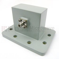 WR-187 to SMA Female Waveguide to Coax Adapter UDR48 Standard with 3.85 GHz to 5.85 GHz in Aluminum high resolution