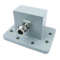 WR-187 to Type N Female Waveguide to Coax Adapter UDR48 Standard with 3.85 GHz to 5.85 GHz in Aluminum high resolution
