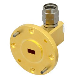 WR-19 to 1.85mm Male Waveguide to Coax Adapter UG-383/U-Mod Round Cover Standard with 40 GHz to 60 GHz U Band in Aluminum, Gold high resolution