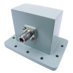 WR-340 to Type N Female Waveguide to Coax Adapter UDR26 Standard with 2.2 GHz to 3.3 GHz in Aluminum high resolution