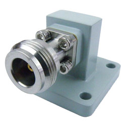 WR-62 to Type N Female Waveguide to Coax Adapter Square Cover Standard with 12.4 GHz to 18 GHz in Aluminum high resolution