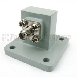 WR-75 to SMA Female Waveguide to Coax Adapter Square Cover Standard with 10 GHz to 15 GHz in Aluminum high resolution