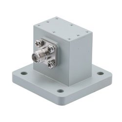 WR-75 to SMA Female Waveguide to Coax Adapter Square Cover Standard with 10 GHz to 15 GHz X-Ku Band in Aluminum high resolution