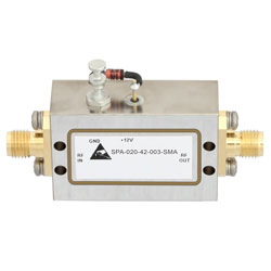 500 MHz to 2 GHz, Medium Power Broadband Amplifier with 24 dBm, 46 dB Gain and SMA high resolution
