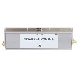 47 dB Gain High Power High Gain Amplifier at 20 Watt P1dB Operating From 3.1 GHz to 3.5 GHz with SMA high resolution