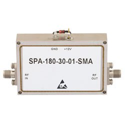 12 GHz to 18 GHz, Medium Power Broadband Amplifier with 1 Watt, 33 dB Gain and SMA high resolution